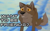 """darkspirited1: Balto, from the movie, sitting beside words that say """"Want to be friends?"""" (friends)"""