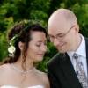 tesla: Wedding photo: Eric and Tesla in Millenium Park on their wedding day (Wedding)