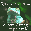 "capriuni: Frog with a faraway look, perched on branch; text: ""quiet please, contemplating my novel"" (quiet please)"