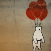 bellchronicles: a drawing of a polar bear lifted up by several balloons (misc bear on balloons)