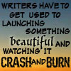 "bookblather: Text: ""Writers have to get used to launching something beautiful and watching it crash and burn."" (dammit characters)"
