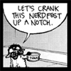 """bookblather: Bucky the cat, text """"Let's crank this nerdfest up a notch."""" (nerdfest)"""
