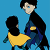 cloud_wolf: chibi dick and damian walking (chibi dick and damian)