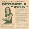 "exchangediary: a magazine ad featuring a woman holding a cat and the text ""become a witch!"" (Witch)"
