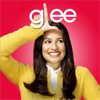 "januar: Rachel of Glee smiling with fingers making ""L"" shape on forehead with letters ""g"" to one side and ""ee"" to other ([glee] rachel)"