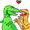 vass: T-Rex and Utahraptor in a clinch with a heart above their heads (T-Rex/Utahraptor 4 Evar)