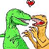 vass: T-Rex and Utahraptor in a clinch with a heart above their heads (T-Rex/Utahraptor 4 Evar)