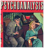 vass: Psychoanalysis comic book cover: an analyst watches a woman crying (psych)