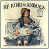 "eriktrips: vintage ""Be Kind to Animals"" poster with dog wrapped in blanket (kindToAnimals)"