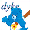 "vass: Champ Bear holding baseball bat, caption ""Dyke"" (Dyke Bear)"