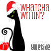 "celli: A black cat with a Santa hat on, tilting its head, captioned ""Whatcha Writin'? Yuletide"" (Yuletide kitty)"