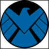 plum177: Current Marvel SHIELD logo. Blue Bird shape on black circle. On white background. (AoS - SHIELD)