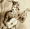 vass: sepia-toned poster detail of navy captain holding a guitar (To thee I sing)