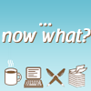 actionreaction: mini icons of coffee, computer, pens and paper. text: now what? ([writing] now what?)
