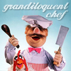 jesse_the_k: Muppet's Swedish chef brandishes cleaver and spoon with rooster at side (grandiloquent cook is grandiloquent)