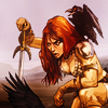 goodbyebird: Red Sonja cover by Fiona Staples: Sonja is kneeling, pommel in hand, a raven perched on her shoulder. (C ∞ if I live I'll pray tomorrow)