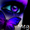meglw0228: an eye with purple makeup and a butterfly underneath with my name (random-eye butterfly)