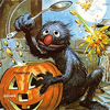 zeetee: Grover scooping pumpkin guts out of a jack o' lantern, hitting oscar and /the freaking moon/ (spooky)