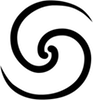 thnidu: Double spiral, spinning out from the empty space at a common center (heyiya-if)