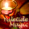 "edithmorningstar: Lit candle, warm red tones, ""Yuletide Magic"" (Yuletide Magic)"