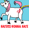 "foxfirefey: A sparkly unicorn branded with the Dreamwidth logo is farting rainbows.  On the bottom: ""Haters gonna hate"" in caps. (haters gonna hate)"