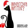 "waywren: An Art Deco black kitty wants to know, ""Whatcha writin'?"" (yulecat)"