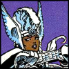 klgaffney: a popular comic book heroine, in a mohawk, dressed in armor, wielding a mighty weapon. (x-men: storm in asgard.)