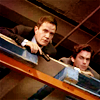 wc_no_spoilers: Peter and Neal hiding in a warehouse (P & N hiding in warehouse)