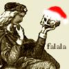 izzy: hamlet contemplating a skull wearing a santa hat ([misc] betty grable too-el)