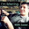 goodtobeamyth: (Listening with beer)