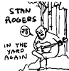 "sophia_sol: black and white drawing of a man playing guitar beneath some trees, with text saying ""Stan Rogers in the yard again"" (C6D: Stan Rogers: in the yard again)"