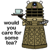 "sophia_sol: Drawing of a dalek holding a teacup, with text saying ""would you care for some tea?"" (DW: dalek: care for some tea?)"
