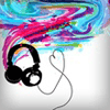 majoline: swirl of floating coloured liquid with a pair of headphones dropping out of it with a heart folded from their cord (headphones)