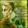 clare_dragonfly: drawing of a man in a brown turtleneck, looking away, text: time for a hundred visions and revisions (Writing: visions and revisions)
