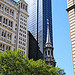 tree_and_leaf: Spire of St Pauls Lower Manhattan surrounded by taller buildings (church in the city)
