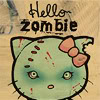 iamstillhere: A zombie hello Kitty on a denim-looking background. (Hello Zombie)