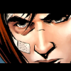 alexiel_neesan: Jason Todd's face from the comic Red Hood:Lost Days. He has a red hoodie and a bandage on his right cheek. (Jay is watching you)