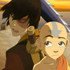 deird1: Aang and Zuko standing back-to-back (Aang Zuko)