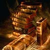 silveraspen: stack of old books with golden edges (books)