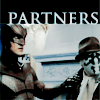 "delphi: Nite Owl and Rorschach standing together, with a caption reading ""Partners."" (nite owl/rorschach)"