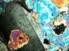 spiritoftruthandlies: olivine and plagioclase in thin section; cross polarized light (Default)