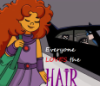 blue_violet_stars: starfire walking with a giant puff of hair (hair, starfire, the blackcat)