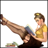 novapsyche: a woman leaning against a wall, reading a book held in hand, legs raised against opposite wall, showing her garters (attractivereader)
