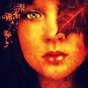 outlineofash: A woman's face cast in shades of gold. A red leaf covers one eye. (Sundry - Autumn)