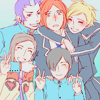 stealth_noodle: The kids + Maya from Persona 2, hugging. (group hug, persona 2)