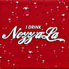 "ext_3190: Red icon with logo ""I drink Nozz-a-la- Cola"" in cursive. (dS: fraser hallelujah)"