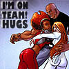 "muccamukk: Misty and Colleen hugging Luke. Text ""I'm on Team!Hugs"" (Marvel: Team!Hugs)"