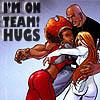 """muccamukk: Misty and Colleen hugging Luke. Text """"I'm on Team!Hugs"""" (Marvel: Team!Hugs)"""