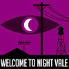 plum177: Purple background. White moon hovers over silhouetted landscape surrounded by an eye shape in darker purple. (WtNV - Water Tower)