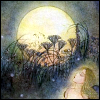 pameladlloyd: Romantic watercolor image of a woman gazing at the moon (Moon Gazing)